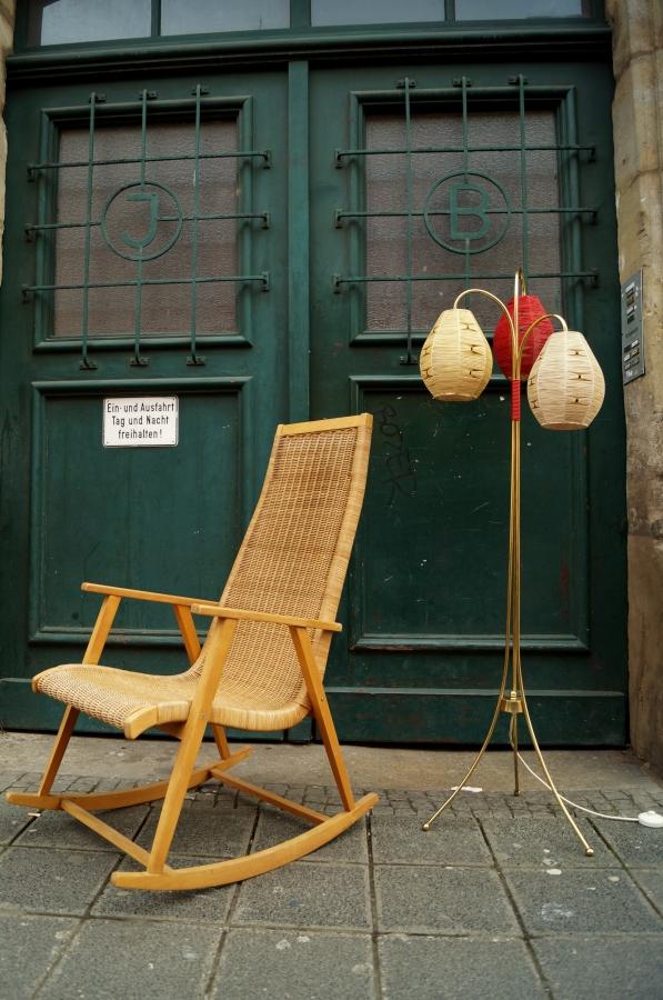flex mid century vintage design n rnberg mid century rattan schaukelstuhl 50s bast t tenleuchte. Black Bedroom Furniture Sets. Home Design Ideas